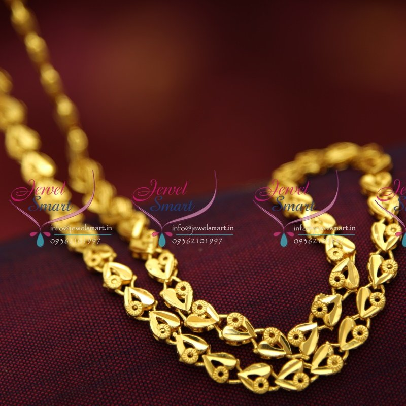 C0878 18 Inches Gold Plated Fancy Heart Design Short Chain