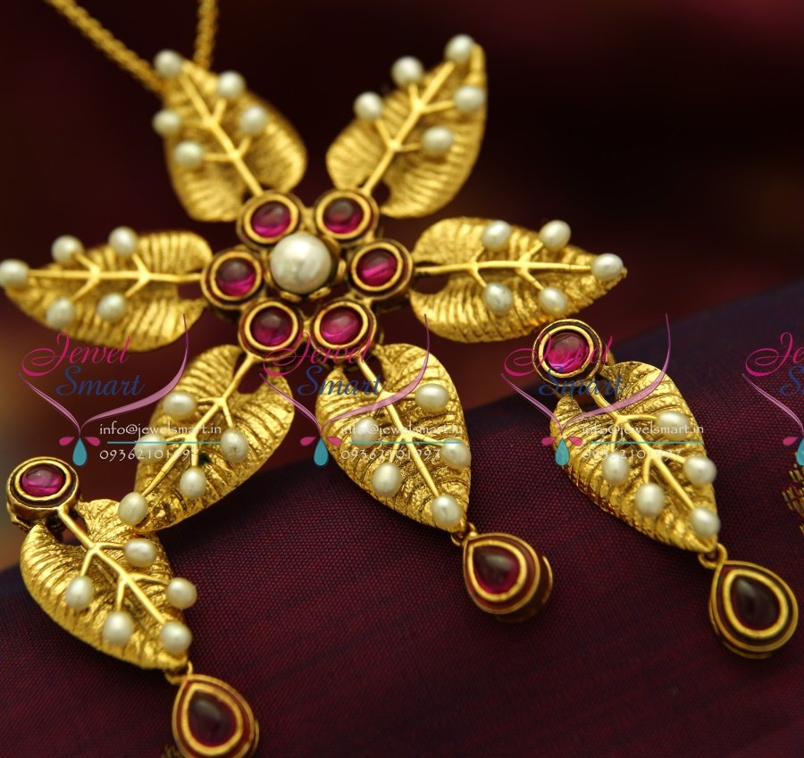 PS1830 Exclusive Antique Gold Leaf Design Handmade Real Pearl Jewellery Pendant Set Online