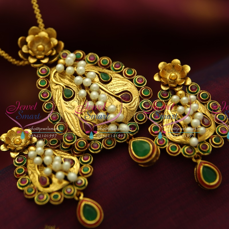 34518ad1177e05 PS1825 Exclusive Antique Kempu Ruby Emerald Gold Design Handmade Real Pearl  Jewellery Pendant Set Online