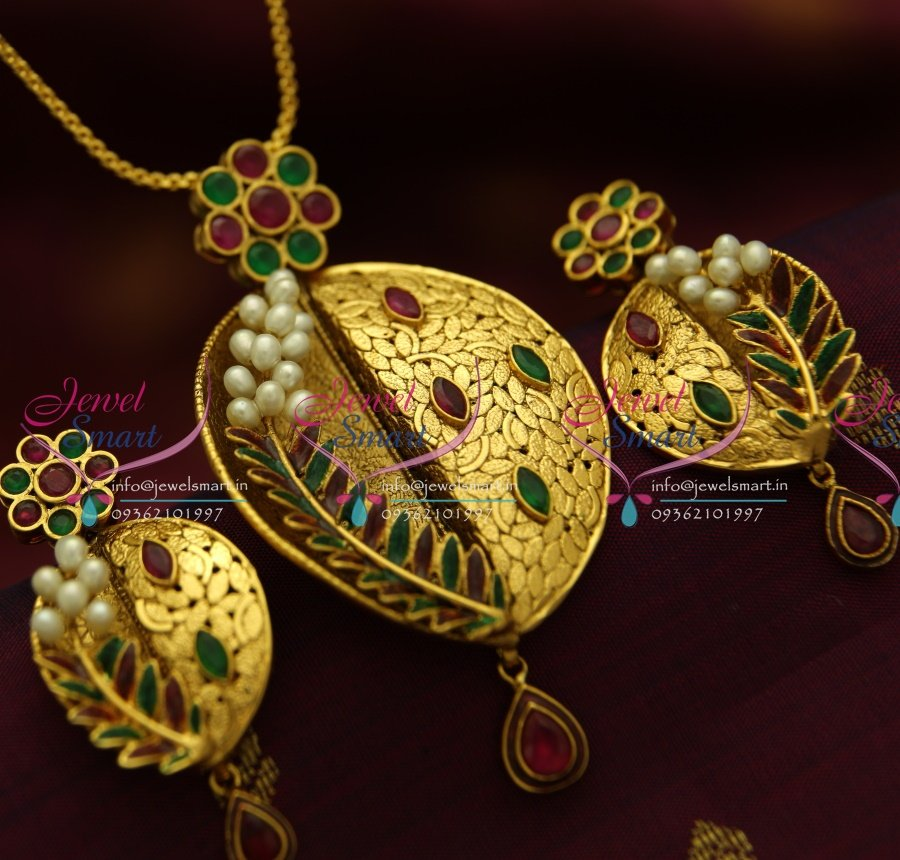 d4c4addd91ce8b PS1823 Exclusive Antique Ruby Emerald Gold Design Handmade Real Pearl  Jewellery Pendant Set Online
