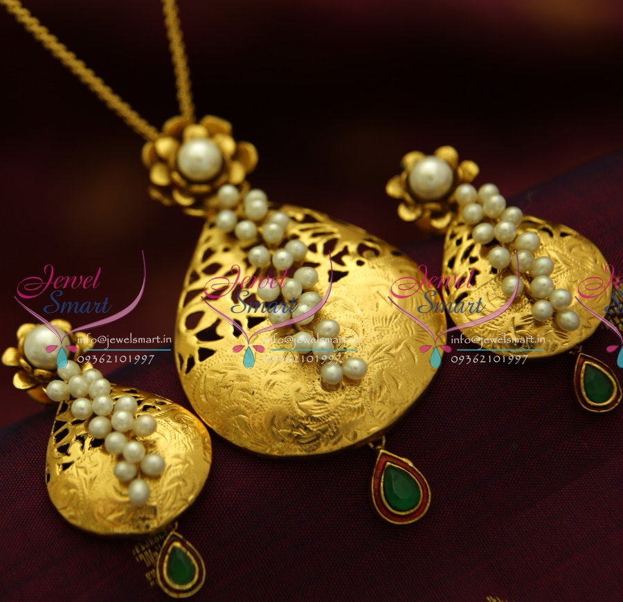 Pearl Jewellery Necklace >> PS1832 Exclusive Antique Gold Design Handmade Real Pearl ...