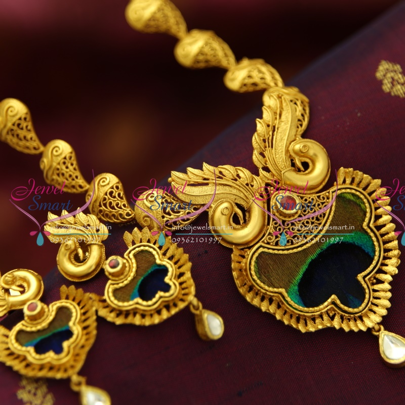 6e3c2688d3 NL4298 One Gram Gold Plated Beautiful Real Look Intricate Peacock Design  Jewellery Screwback Earrings Online