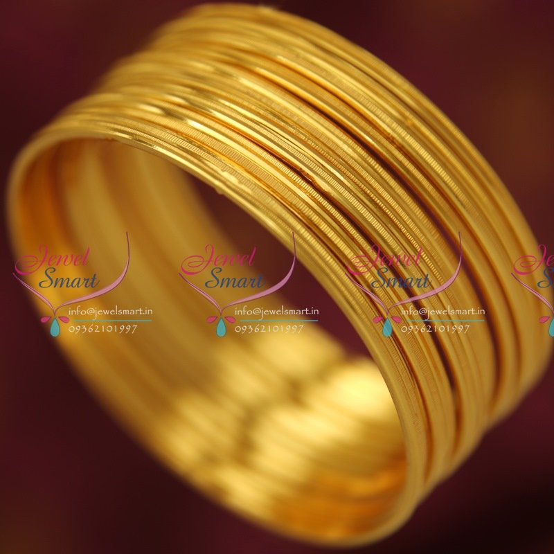 B5035S 2.4 Size 12 Pieces Gold Design Thin Bangles Daily ...