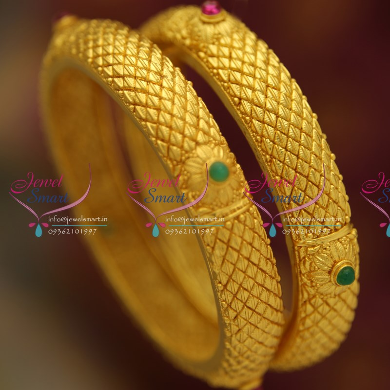 B4492m One Gram Plated Real Gold Design Look Kemp Bangles Buy Online