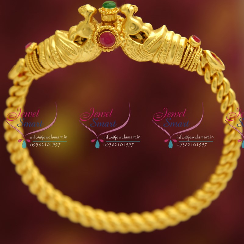 B4524 One Gram Temple Kemp Oval Kada Real Look Gold Design