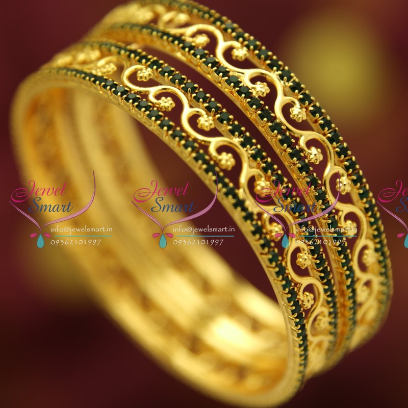 gold stones green p traditional plated stone gram buy bangles ganapathy gems with