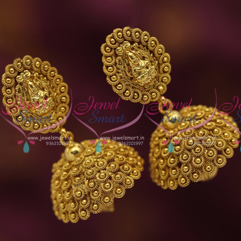 J4732 Antique Nagas Nakshi Traditional Big Laxmi Temple Jhumka Earrings Online
