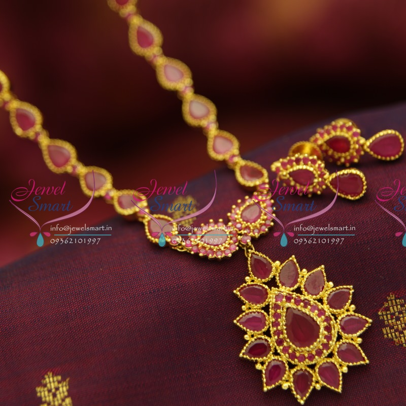 Nl5002 Simple Design Ruby Stones Traditional Real Look