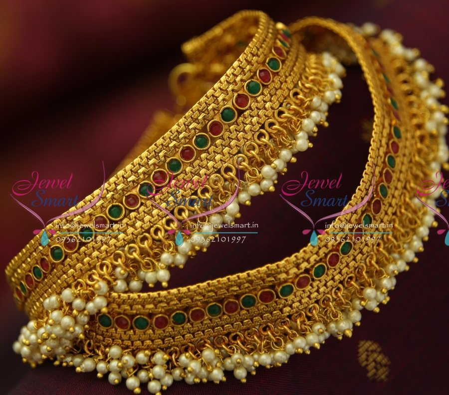 A5045 Antique Pearl Fancy Payal Anklet Leg Chain Fashion