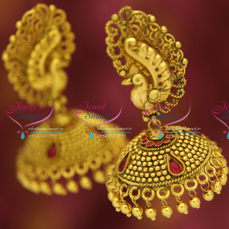 J5206 Antique Gold Plated Nagas Stylish Peacock Broad Jhumka Earrings