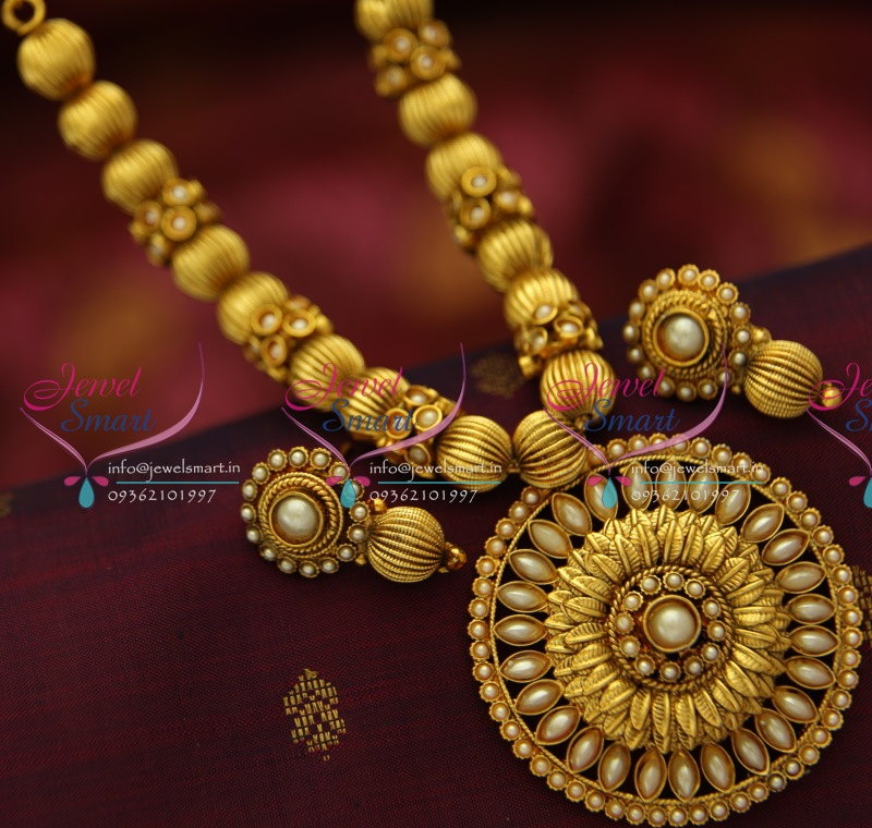 Nl5263 Antique Gold Plated Beads Mala Round Pendant
