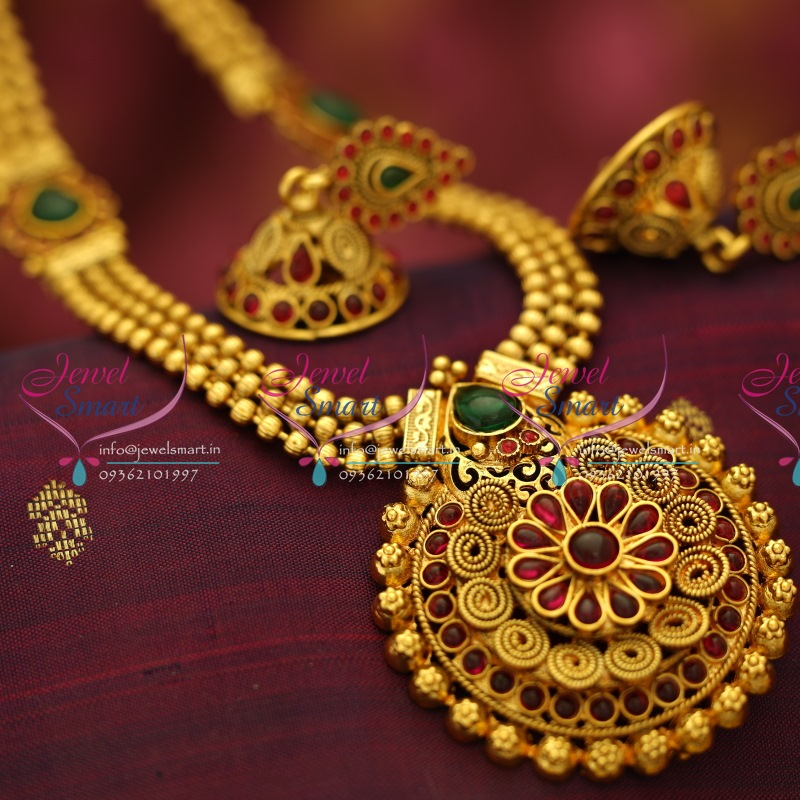 NL5636 South Indian Traditional Beads Haram Spiral Pendant Kemp ...