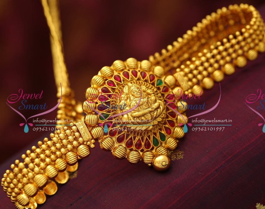 H5675 Beads Design Temple Laxmi God Hip Chain Red Gold Antique ...