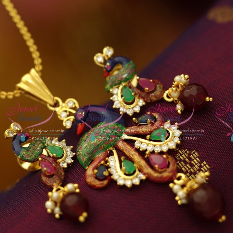 PS6163 Gold Plated Peacock Latest Design Painting Work Real Look ...