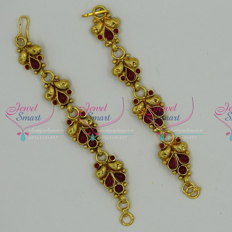 EC6191 Kemp Jewellery Matching Ear Chains Mattal South Indian ...