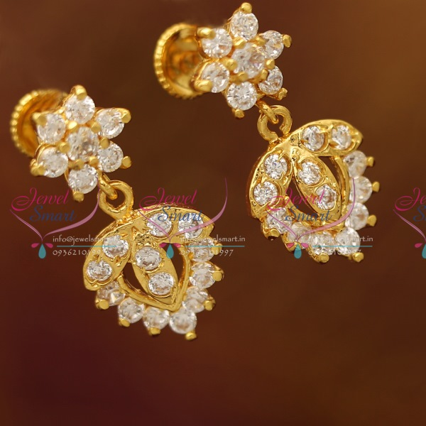 ES6278 Gold Plated AD White Stones Screwback South Indian Earrings