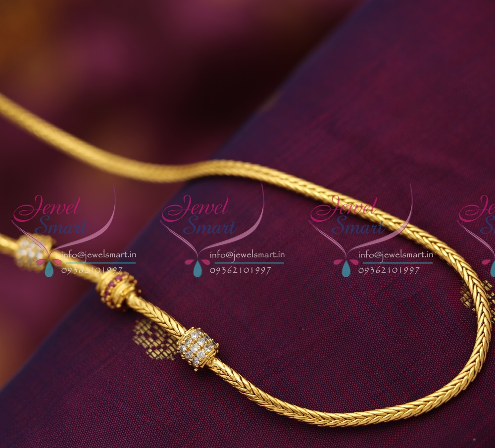 C0024 Gold Plated Chain 24 Inches Party & Daily Wear Ruby CZ Balls ...
