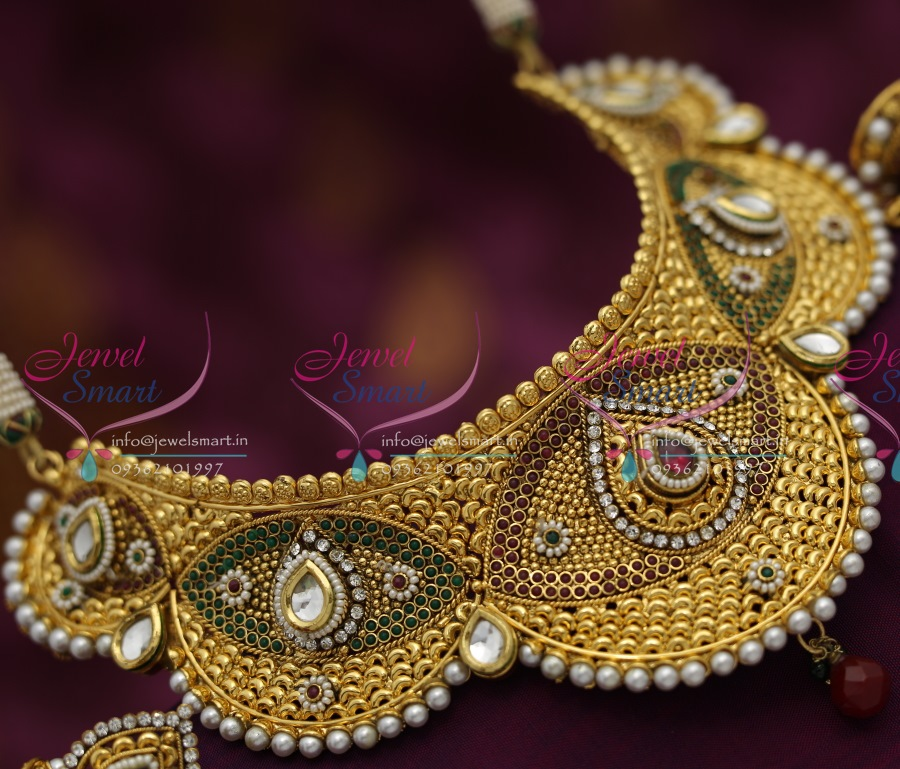 N4103 Dulhan Choker Necklace EarRings Tikka Antique Gold Plated ...