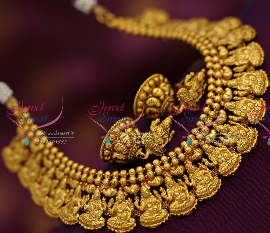 NL6539 Antique Gold Plated Temple Laxmi God Design Traditional Necklace Set & NL6539 Antique Gold Plated Temple Laxmi God Design Traditional ...