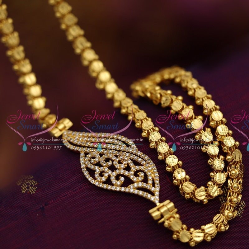 C6548 24 inches chain white stones mugappu side pendant fancy c6548 24 inches chain white stones mugappu side pendant fancy jewellery online mozeypictures Images