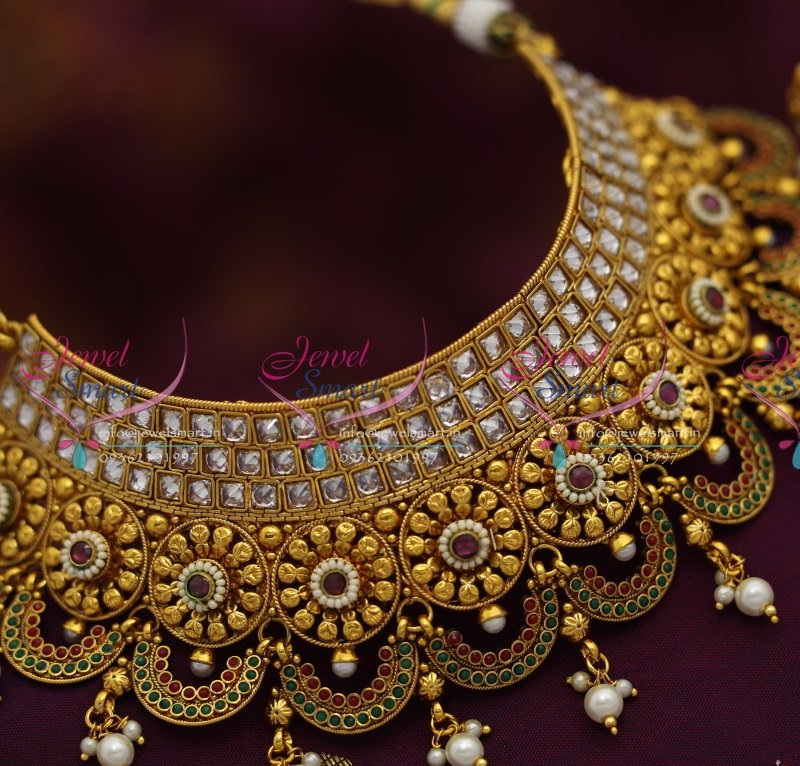 CH0974 Broad Choker Necklace Antique AD Stones Grand Wedding Bridal Jewellery Online