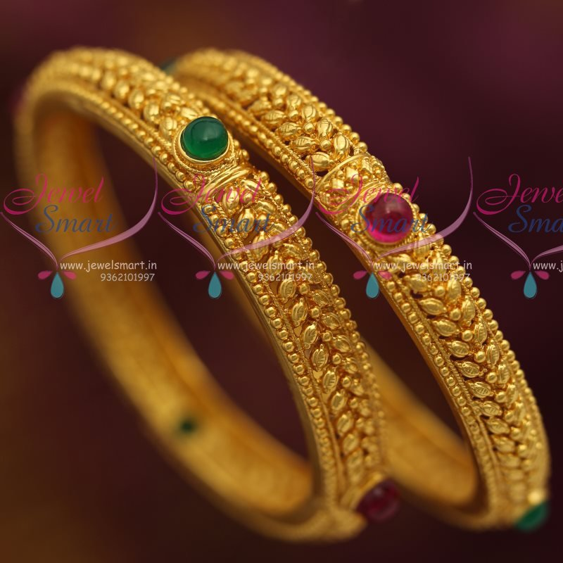 B7183 One Gram Leaf Gold Design Kemp Traditional Bangles