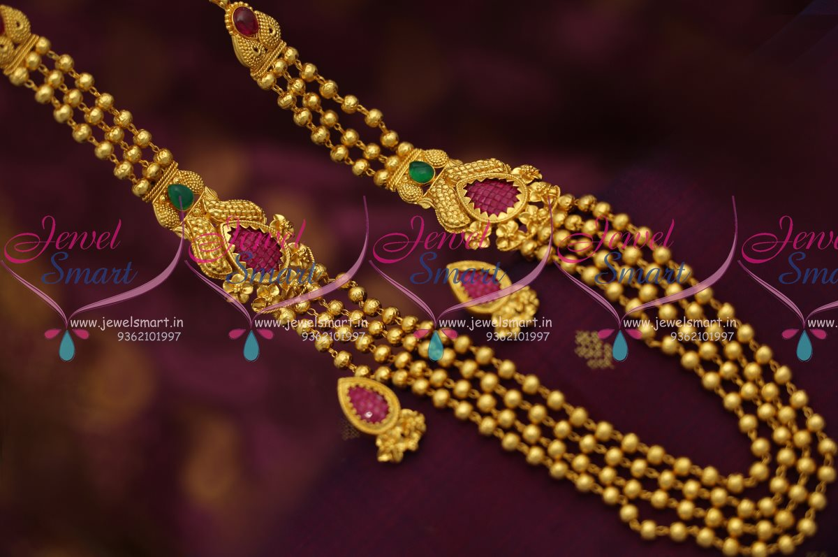 Nl6986 One Gram Gold Design Multi Strand Gundla Mala