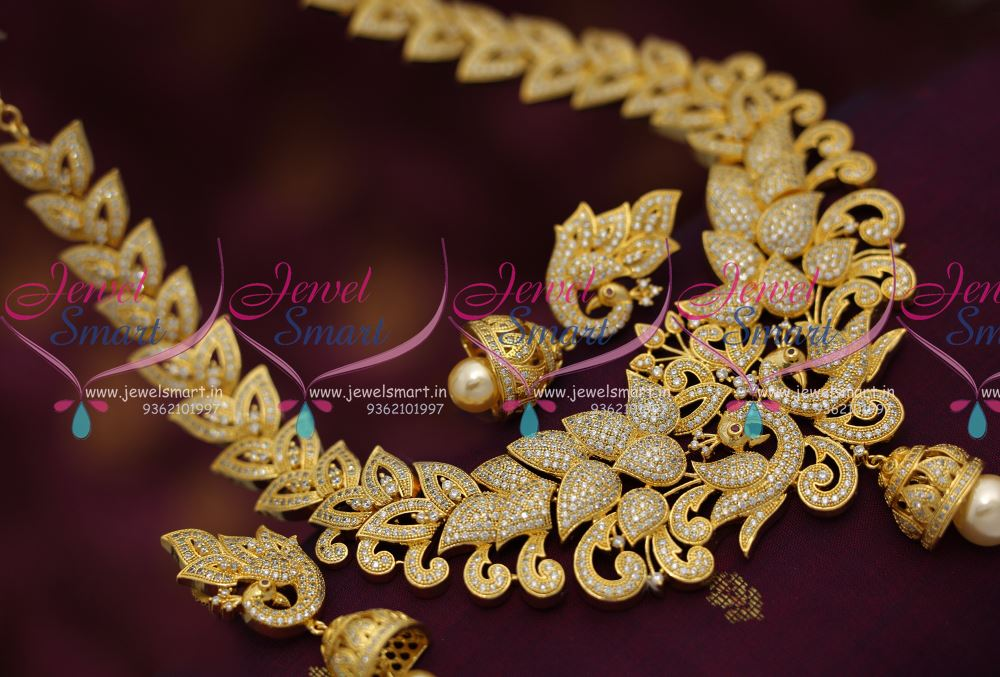 NL6876 CZ Ruby Grand Broad Necklace Jhumka Peacock Design Latest ...