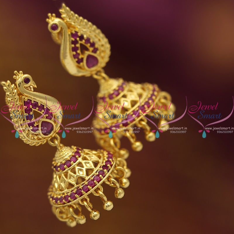 J6826 Gold Plated Ruby Peacock Screwback South Indian Jhumka ...