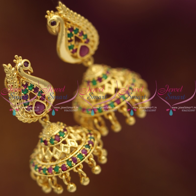 J6825 Gold Plated Ruby Emerald Screwback South Indian Jhumka