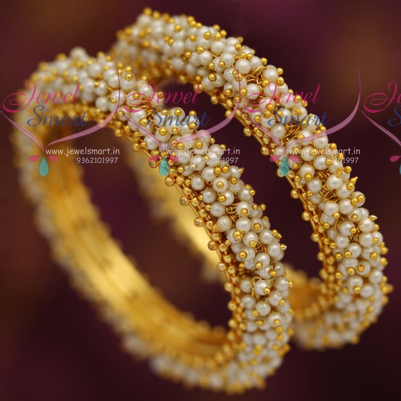B7275 Full Pearl Danglers Hand Beaded Bangles Offer Price Fancy ...