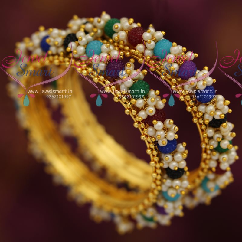 B7278 Pearl Multi Colour Danglers Hand Beaded Bangles Offer Price ...