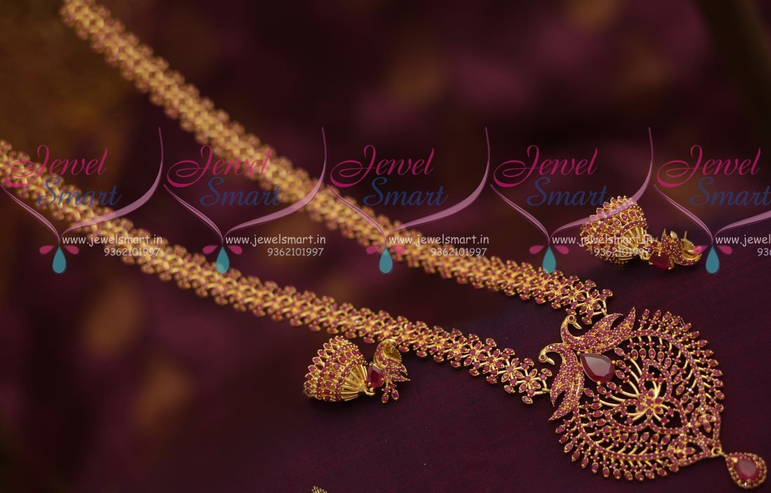 NL7269 Full Ruby Gold Plated Fancy Haram Long Necklace Peacock ...
