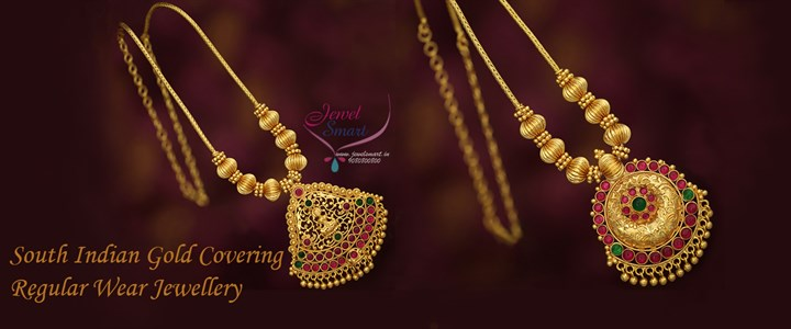 South Indian Daily Wear Chain Pendant Designs Gold Plated