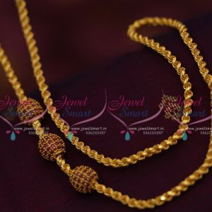 thali-kodi-thick-3.5-mm-ruby-ball-mugappu-chain-gold-plated-24-inches-length