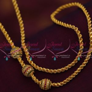 thali-kodi-thick-3.5-mm-ruby-emerald-ball-mugappu-chain-gold-plated-24-inches-length