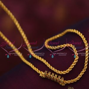 thali-kodi-thick-3.5-mm-ruby-emerald-mugappu-chain-gold-plated-24-inches-length