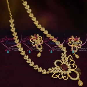 Nl8872 Thin Simple Design Cz Short Necklace Ruby White