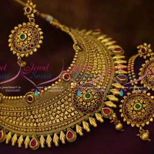 broad-latest-design-antique-choker-necklace-maang-tikka-grand-wedding-jewellery