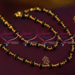 CS9274 Crystal Cap Gold Plated Nalla Pusalu Chain Black Beads Online 24 Inches