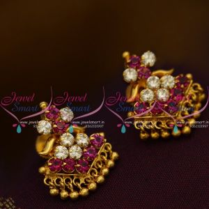 ES9661 Fuschia Pink White AD Stones Screwback Traditional Design Earrings Gold Plated