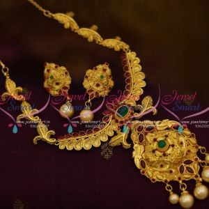 NL3487 Gold Design One Gram Plated Wide Pendant Temple Necklace Kempu Spinel Ruby Traditional Indian Jewelry Set