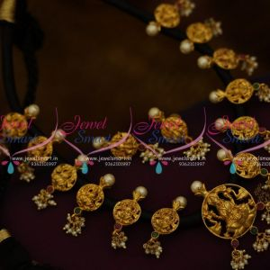 NL9723 Black Thread Dhaga Necklace Mangalsutra Temple Gold Design Jewellery Online