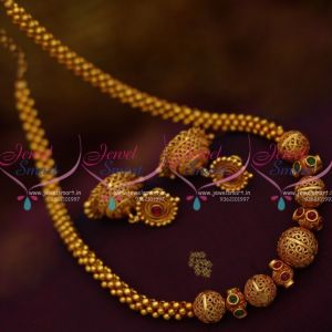 Gheru Reddish Gold Colour Beaded Jali Mala Screwback Lightweight Jhumka Kemp Jewellery Online
