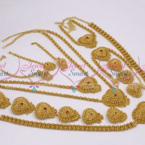BR520S1016 South Indian Handmade Full Bridal Jewellery Set Gold Plated Unique Design Jewellery Online