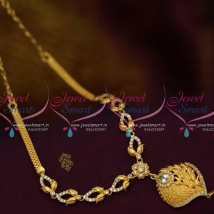 NL10011 American Diamond White Stones Low Price Leaf Design Casual Wear Necklace Online