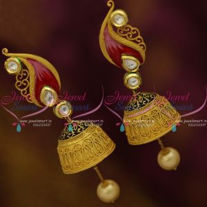 J5099 Kundan Mango Design Intricate Floral Design Fancy Jhumka Matte Gold Collections