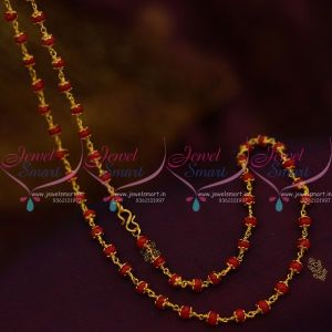 Red Opaque Crystal Floral Gold Caps Link Chain 23 Inches Casual Wear Jewellery Online CS15SM1016