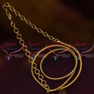 Latest Design 2 mm Short Gold Plated 14 Inches Chain Back Adjustable Rings Suitable Pendant Sets Casual Wear Jewellery
