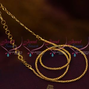 Delicate Design 2 mm Short Gold Plated 14 Inches Chain Back Adjustable Rings Suitable Pendant Sets Casual Wear Jewellery